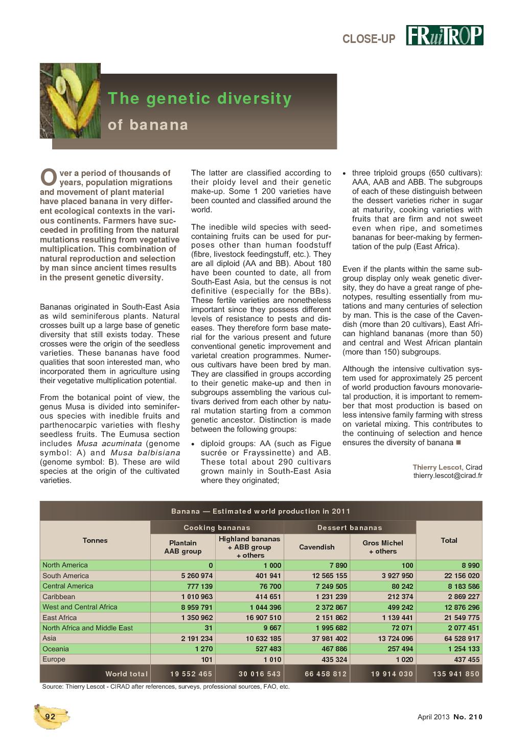 Magazine FruiTrop n°210 (lundi 29 avril 2013)