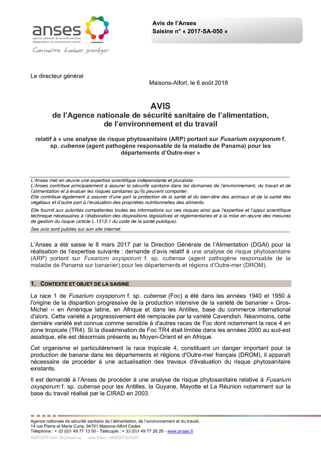 Maison Des Travaux Avis phytosanitary risk analysis for the french overseas